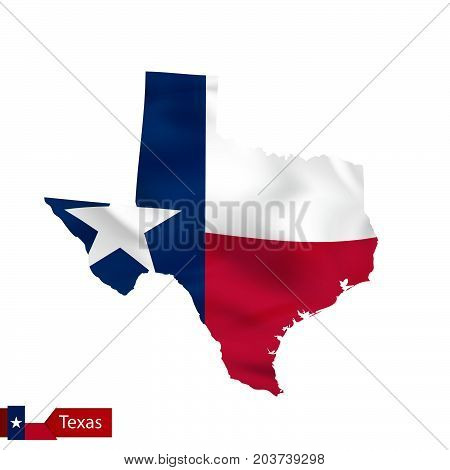 Texas State Map With Waving Flag Of Us State.