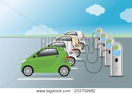 Power Supply For Electric Car Charging. Electric Car Charging Station. Hybrid Vehicle, Eco Friendly