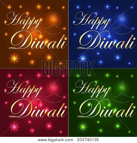Happy Diwali. Light Background, Neon Effect. The Inscription On A Blue, Brown, Red, Emerald Backgrou