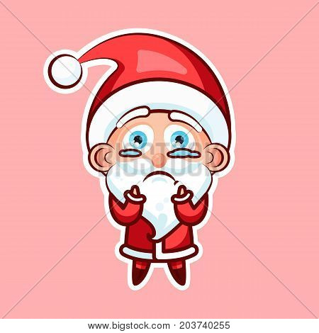 Sticker emoji emoticon, emotion beg, ask, pray, tears in eyes, vector illustration character sweet cute Santa Claus, Father Frost on pink background for Happy New Year and Merry Christmas mobile app