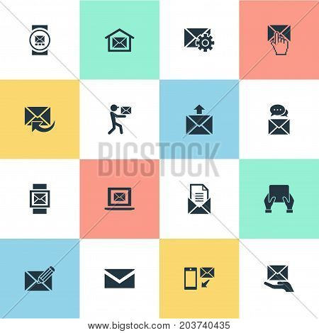 Elements Entering, Message, Messaging And Other Synonyms Box, Blank And Dispatch.  Vector Illustration Set Of Simple Mailing Icons.