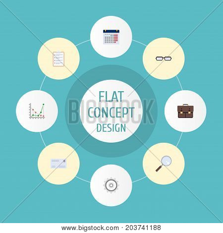 Flat Icons Envelope, Cogwheel, Task List And Other Vector Elements