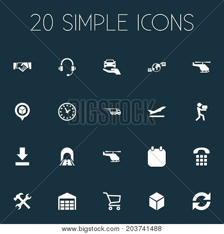 Elements Storage, Supporting, Bottom Side And Other Synonyms Agent, Calendar And Carriage.  Vector Illustration Set Of Simple Systematization Icons.