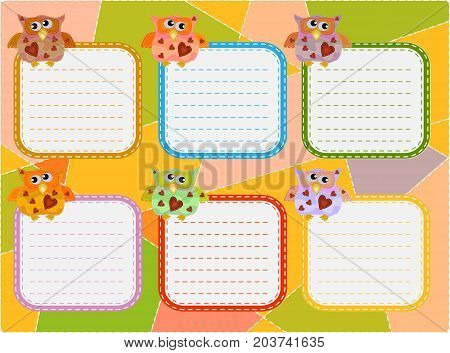 A timetable schedule of lessons a poster a plan for six working days decorated with wise owls painted with imitation sewing patches.