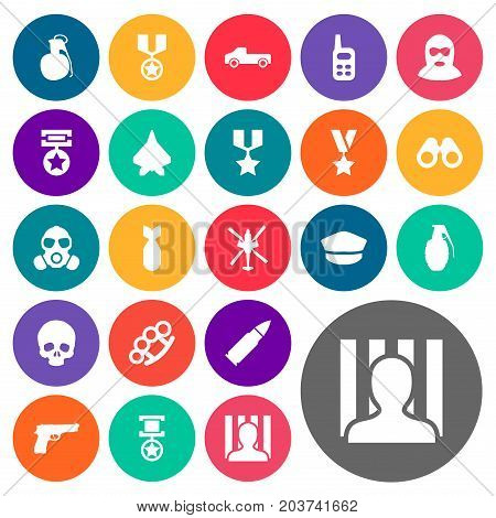 Elements Pistol, Star, Jailer And Other Synonyms Suv, Glass And Automobile.  Vector Illustration Set Of Simple Battle Icons.