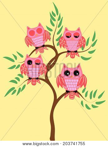 Four Pink Owls On A Tree Branch: Sleeping, Awake, Two With A Half-open Eyes