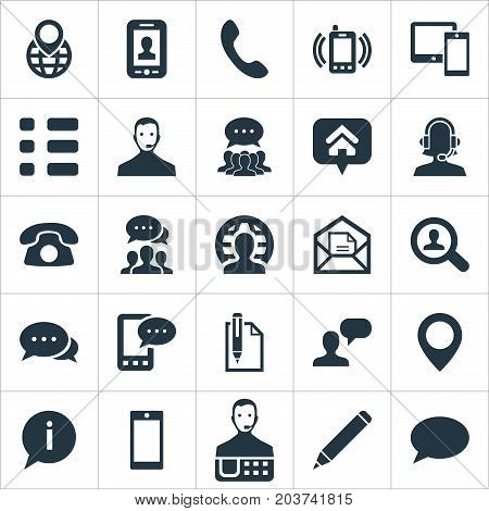 Elements Home Mark, Collective Opinion, Education And Other Synonyms Calling, Telemarketing And List.  Vector Illustration Set Of Simple Connect Icons.
