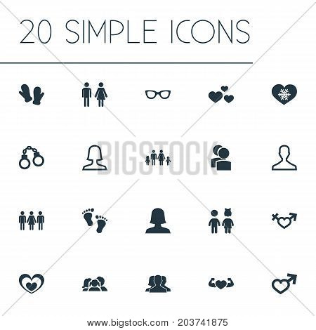 Elements Spouse, Spectacles, Mitten And Other Synonyms Sunglasses, Eyeglasses And Partner.  Vector Illustration Set Of Simple Beloved Icons.