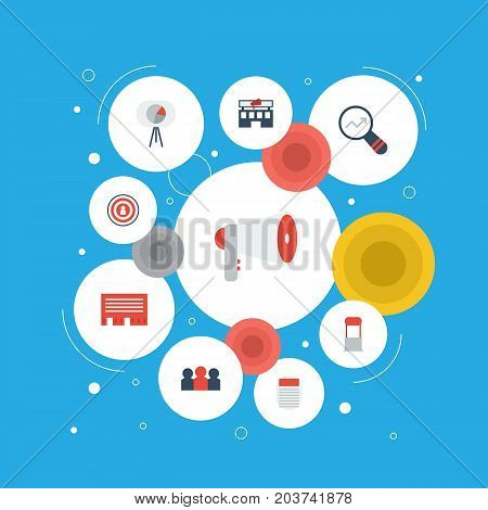 Flat Icons Auditorium, Building, Journal And Other Vector Elements