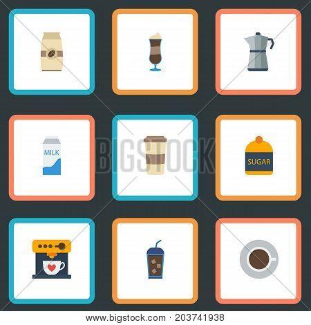 Flat Icons Mocha, Paper Box, Moka Pot And Other Vector Elements