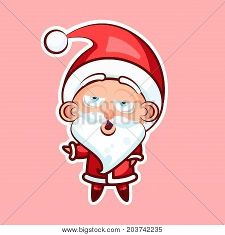 Sticker emoji emoticon, emotion, yawn, gape vector isolated illustration bored character sweet cute Santa Claus, Father Frost on pink background for Happy New Year and Merry Christmas mobile app