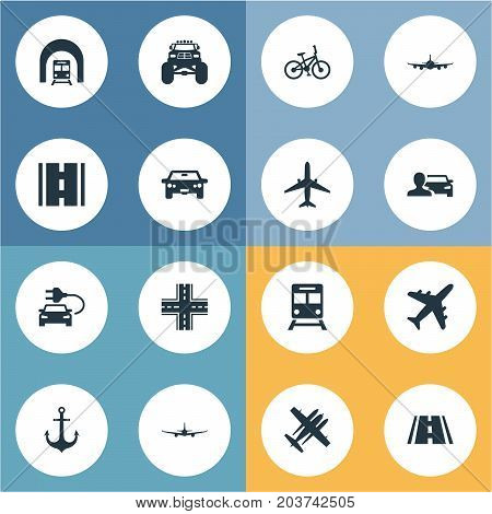 Elements Aeroplane, Automobilist, Intersection And Other Synonyms Auto, Bike And Jet.  Vector Illustration Set Of Simple Transport Icons.