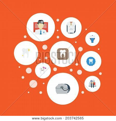 Flat Icons Halitosis, Equipment, Decay And Other Vector Elements