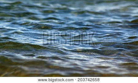 Calm blue Lake waters with soft rippling on surface