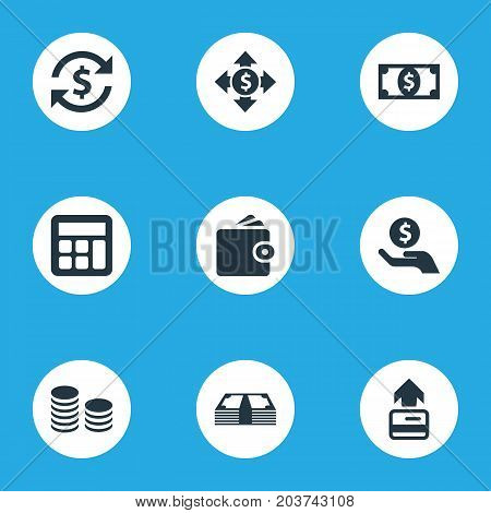 Elements Interest, Rich, Exchange And Other Synonyms Exchange, Transfer And Business.  Vector Illustration Set Of Simple Money Icons.