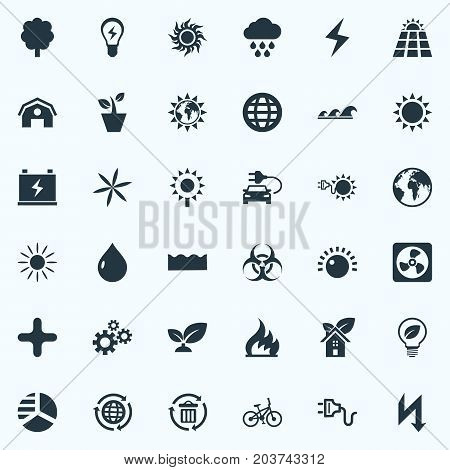 Elements Cogwheel, Blossom, Solar Energy And Other Synonyms Gear, Panel And Houseplant.  Vector Illustration Set Of Simple Green Icons.