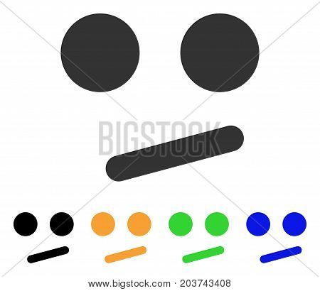 Indifferent Smiley Smile icon. Vector illustration style is a flat iconic indifferent smiley smile symbol with black, grey, green, blue, yellow color variants.