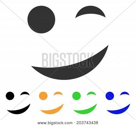 Joke Smile icon. Vector illustration style is a flat iconic joke smile symbol with black, grey, green, blue, yellow color variants. Designed for web and software interfaces.
