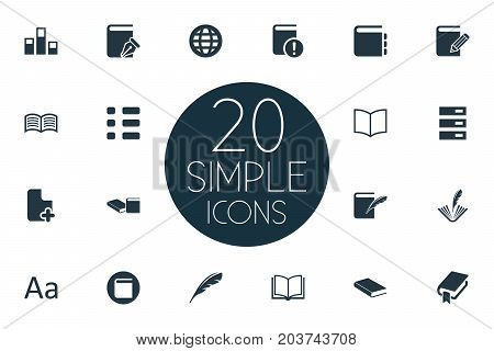 Elements Stack, Plume, List And Other Synonyms Organisation, Archive And Quill.  Vector Illustration Set Of Simple Reading Icons.