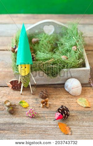 Funny pinecone gnome on fresh moss. Autumn toys for kids.