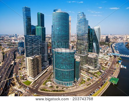Moscow, Russia - August 20, 2016: Aerial view of Moscow-City (Moscow International Business Center) over Moskva River. Moscow-City is a modern commercial district in central Moscow.