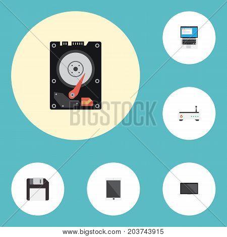 Flat Icons Palmtop, Hard Disk, Diskette And Other Vector Elements