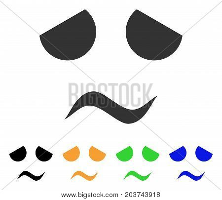 Sad Worried Smile icon. Vector illustration style is a flat iconic sad worried smile symbol with black, gray, green, blue, yellow color variants. Designed for web and software interfaces.