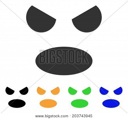Scream Smile icon. Vector illustration style is a flat iconic scream smile symbol with black, grey, green, blue, yellow color versions. Designed for web and software interfaces.