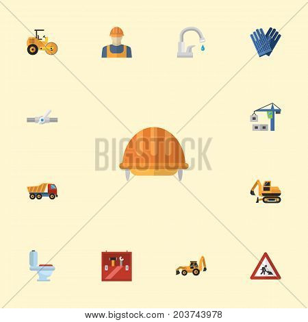 Flat Icons Toolkit, Hoisting Machine, Caution And Other Vector Elements