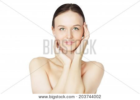 Beautiful Woman with Fresh Skin Looking at Camera Isolated on White