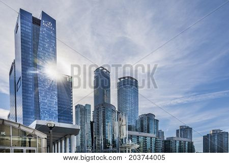 TORONTO,CANADA-AUGUST 2,2015:Suggestive view of skyscrapers from the Toronto convention centre in downtown Toronto during a sunny day