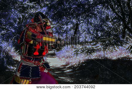 Samurai in ancient armor with a sword ready to attack close-up