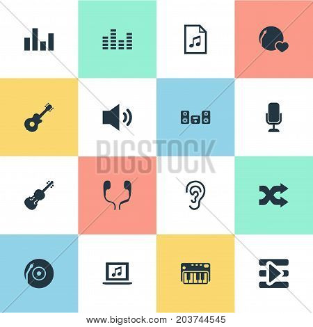 Elements Equalizer, Amplifier, Record And Other Synonyms File, Recorder And Listening.  Vector Illustration Set Of Simple  Icons.
