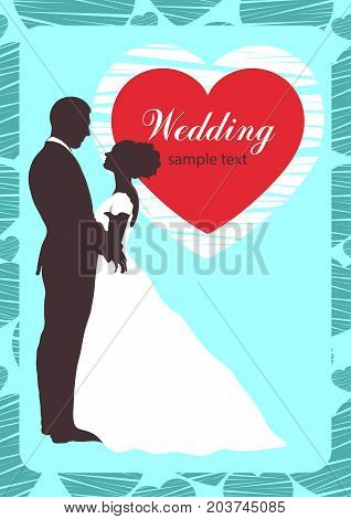 Bride and groom silhouette, wedding invitation, card, outline contour drawing. Couple in love hugging looking at each other, dressed in a wedding white dress and a suit