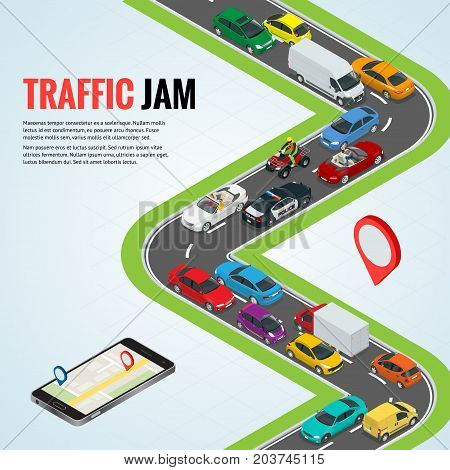 Traffic jam and Road way location. Mobile gps navigation flat isometric high quality city transport car urban public and freight transport for infographics.