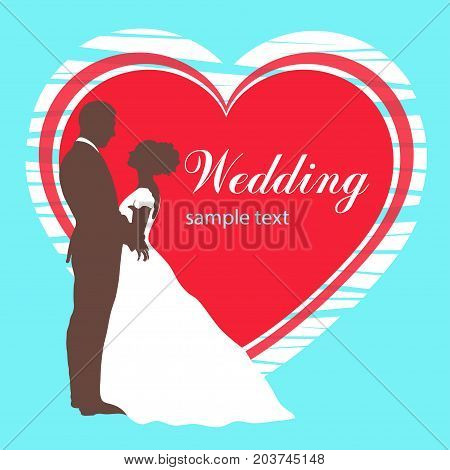 Bride and groom silhouette, wedding invitation, card, vector outline drawing. Couple in love hugging, dressed in a wedding white dress and a suit on the background of the heart