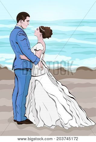 Bride and groom cartoon vector, hand drawing. Couple in love hugging looking at each other, dressed in a wedding dress and a suit against the background of the landscape from the sea