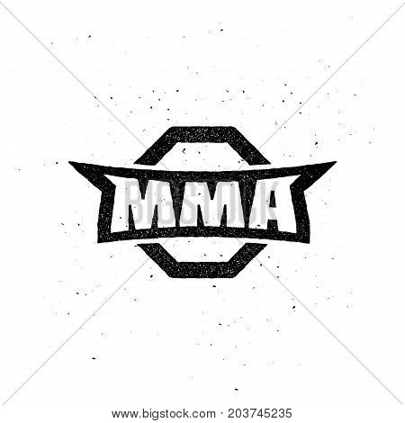 MMA Vintage Team Logo. Fight Theme Vector Illustration. Template for your gym, stickers, emblem, badge, logo, apparel, t-shirt, fight club or web works.