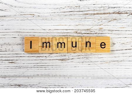 IMMUNE word made with wooden blocks concept