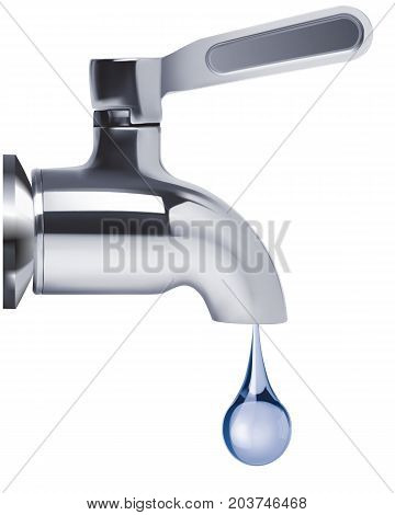 Faucet and water drop isolated. Vector 3D illustration