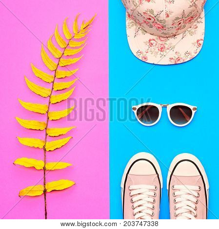 Hipster Girl Accessories Set. Fashion Design Outfit. Yellow Fern Leaf, Trendy Shoes, fashion Cap Sunglasses. Hot Summer Vibes. Creative Bright Sweet Style. Minimal, Art