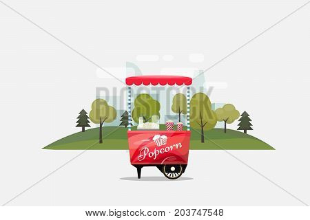 Popcorn cart, kiosk on wheels, retailers, sweets and confectionery products, and flat style isolated on transparent background vector illustration. Snacks for your projects.