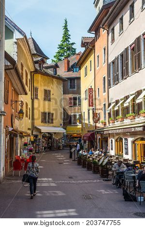 Annecy France - May 25 2016: Hotel du Palais de l'Isle Annecy in Annecy France. Annecy is a commune in the Haute Savoie department of the Rhone-Alpes region in south-eastern France.