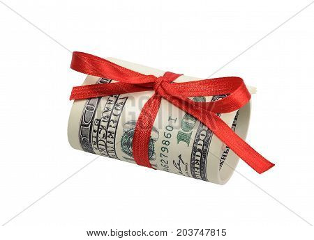 Bundle of bills of one hundred dollars tied with a red ribbon. Dollars isolated on white background.