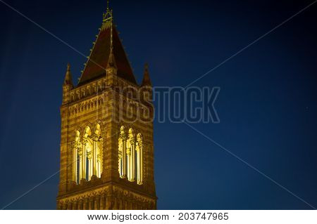 Church tower in Copley square at night