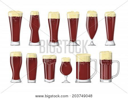 Beer glasses set. Dark beer or ale.