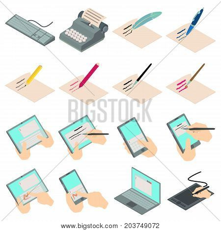 Write letter icons set. Isometric illustration of 16 write letter vector icons for web