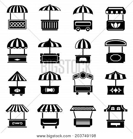 Street food kiosk icons set. Simple illustration of 16 street food kiosk vector icons for web