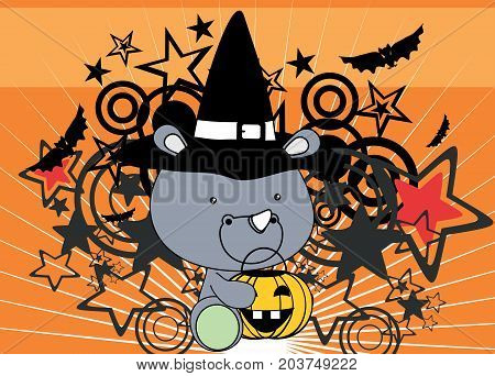 cute little baby rhino cartoon halloween costume background in vector format very easy to edit
