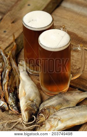 Delicious fresh beer and salted fish view